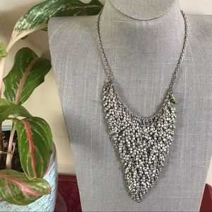 Jewelry - Silver seed bead triangle statement  necklace